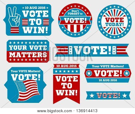 American presidential election 2016 badges and vote labels. Badges and signs for presidential election. Symbols of USA president election. Vector illustration