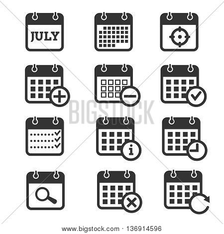 Time, date and calendar vector icons. Calendar icons for organizer and event, reminder and agenda