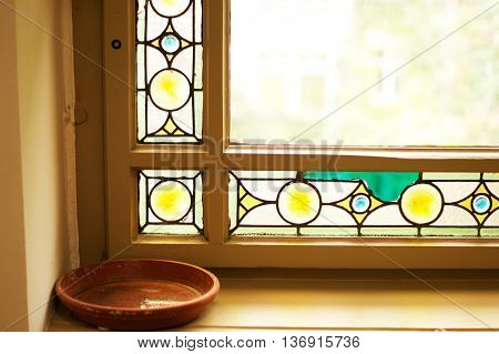color glass window on interior old house