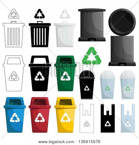 many shape and color recycle bin and simple bin.