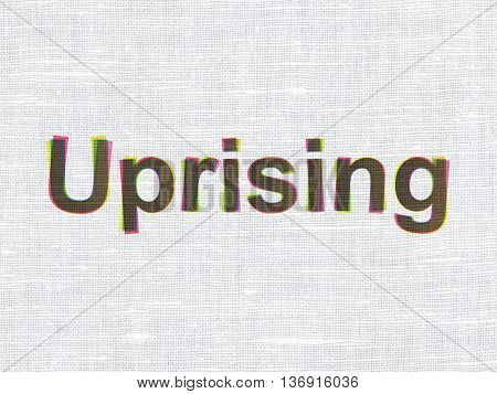 Political concept: CMYK Uprising on linen fabric texture background
