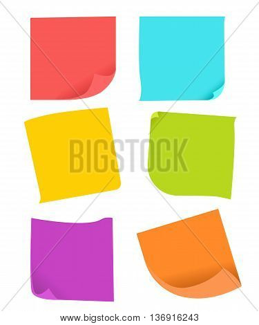 Set of different vector note papers. blank colorful sticky over white background