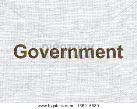 Political concept: CMYK Government on linen fabric texture background