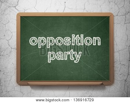 Politics concept: text Opposition Party on Green chalkboard on grunge wall background, 3D rendering