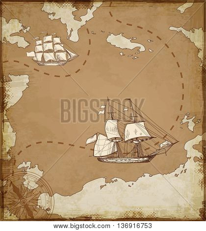 Vintage vector map with sailing vessels. Ancient map with ships.