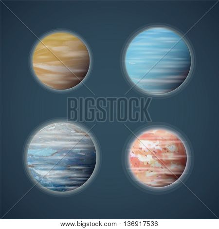 Typical Space Planets Or Planetoids Vector Set