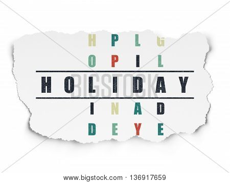 Holiday concept: Painted black word Holiday in solving Crossword Puzzle on Torn Paper background