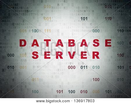 Database concept: Painted red text Database Server on Digital Data Paper background with Binary Code