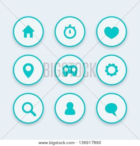 Basic web icons settings login search favourite home chat round icon set