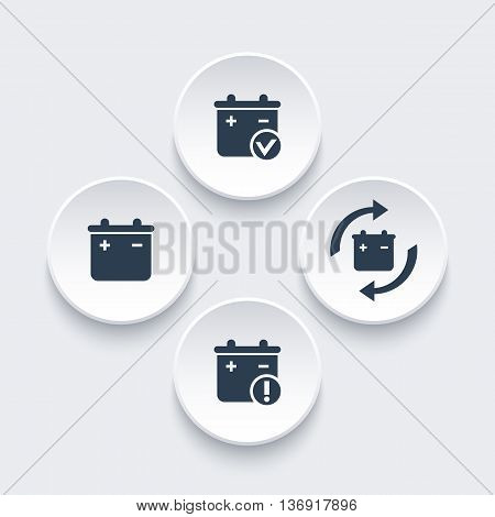 Battery icons on round 3d shapes battery replacement warning pictogram vector illustration