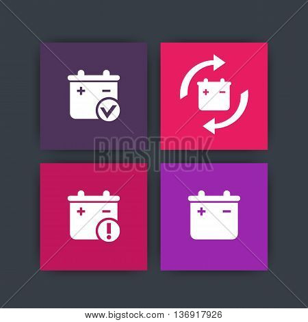 Battery icons battery replacement warning sign vector illustration