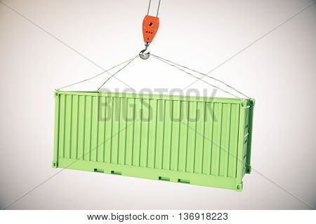 Crane hook with green cargo container on light background. 3D Rendering