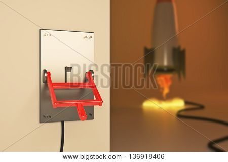 Startup concept with abstract blurry launching rocket ship connected to turned down lever switch on brown background. 3D Rendering