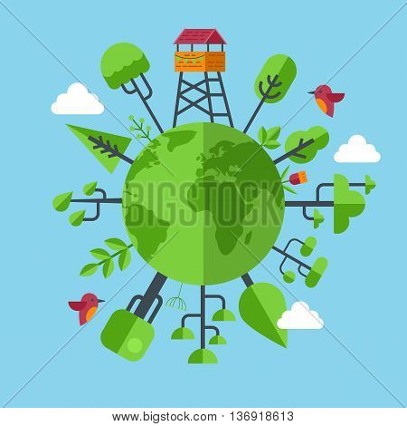 Eco friendly earth concept with flat modern icons
