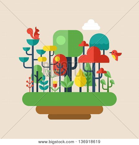 Forest flat modern icons. Enviroment and ecology concept