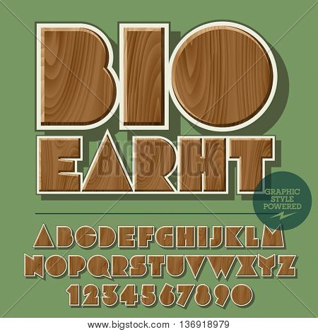 Vector set of alphabet letters, numbers and punctuation symbols. Wooden emblem for ecology activity with text Bio Earth