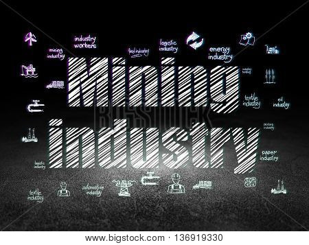 Industry concept: Glowing text Mining Industry,  Hand Drawn Industry Icons in grunge dark room with Dirty Floor, black background