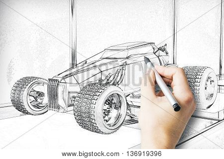 Hand drawing Hot Rod car blueprint with pen