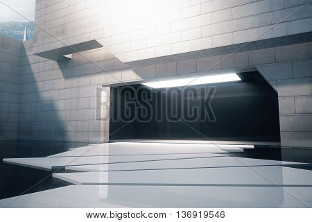 Front view of exterior design with concrete tile walls glossy black floor and abstract white path to entrance. 3D Rendering