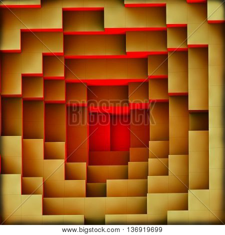 3d illustration of a red light burning from the bottom of the pyramid
