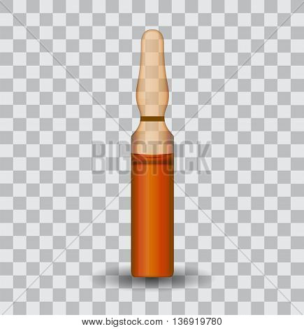 Transparent ampoule with substance. Vector Illustration. EPS10
