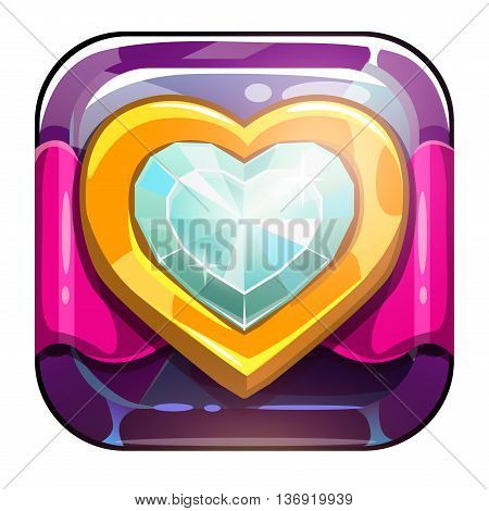 Beautiful vector app icon with golden heart on crystal background, vector game asset for gui design, application store icon, game logo element