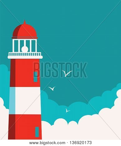 Lighthouse poster.Vector seascape color background for text