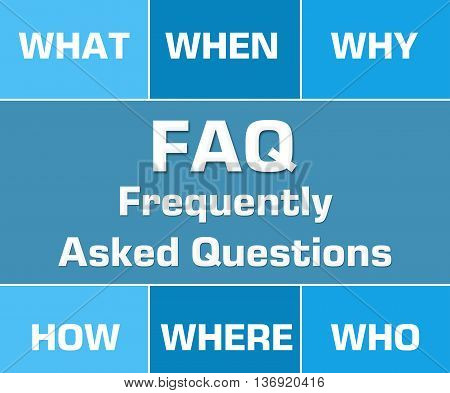 FAQ concept image with text and related keywords.