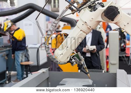 Industrial robot arm. Robotic arm for welding.