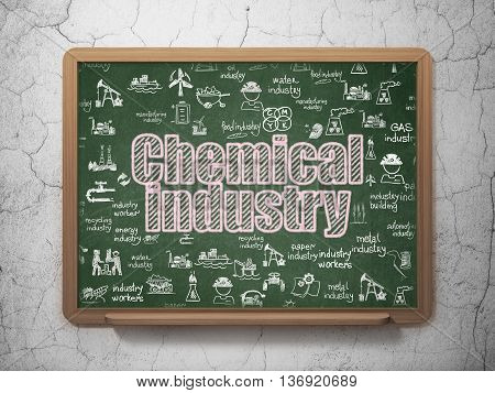 Manufacuring concept: Chalk Pink text Chemical Industry on School board background with  Hand Drawn Industry Icons, 3D Rendering