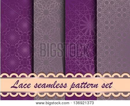 Vector line geometry style seamless pattern set. Collection of lace fabric illustrations. Collection of purple geometric backgrounds
