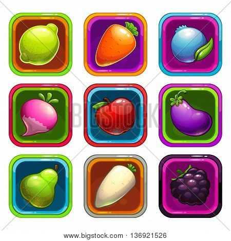 Cartoon app icons with colorful fruits and vegetables, vector GUI assets, game or web design elements
