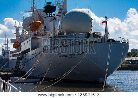 KALININGRAD RUSSIA - June 06: Museum of World oceanoutdoor exposition The ship of space communication