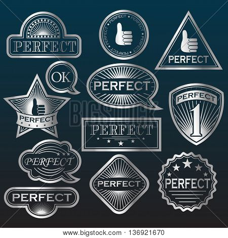 Silver Labels ' Perfect' . Vector illustration
