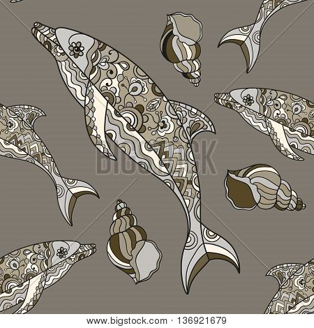 Vector seamless dolphin pattern with hand drawn dolphin doodle illustrations. Indian tribal design.