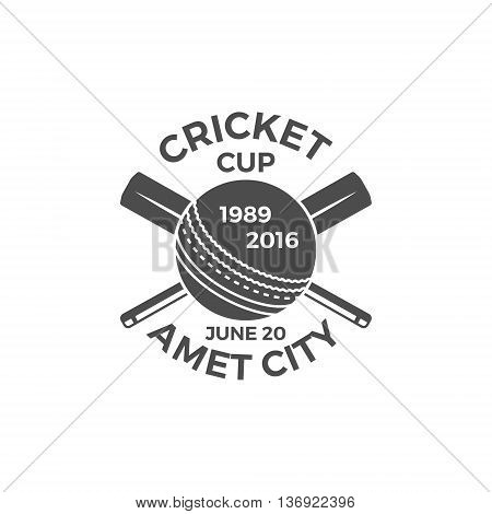 Cricket cup emblem and design elements. Cricket tournament logo design. Cricket stamp. Sports symbols with cricket gear, equipment. Use for web design, tee design or print on t-shirt. Monochrome.