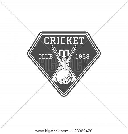Cricket club emblem and design elements. Cricket team logo design. Cricket stamp. Sports fun symbols with cricket equipment - bats, ball. Use for web design, tee design or print on t-shirt Monochrome