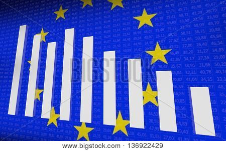 Conception of EU economy. Blue background. 3D rendering.