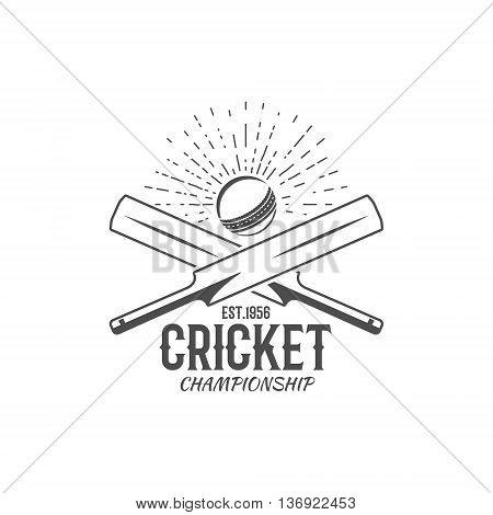 Cricket emblem and design elements. Cricket championship logo design. Cricket stamp. Sports fun symbols with cricket equipment - bats, ball. For web design, tee design or print on t-shirt. Monochrome.