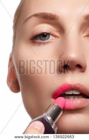 Part Of Attractive Asian Woman's Face With Fashion Lips Make-up