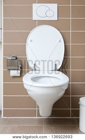 Modern white toilet bowl in the bathroom