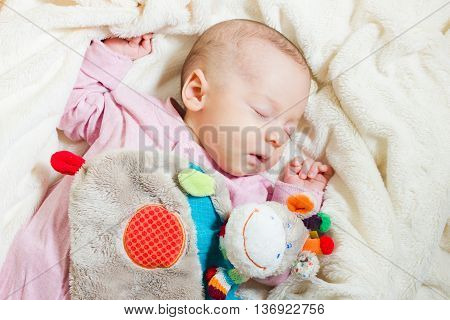 Little cute newborn baby sleeping on its back on a soft blanket with comforter toy. Healthy infant sleep.