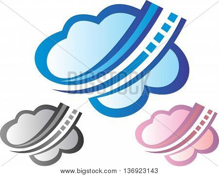 logo abstract digital cloud software multi color