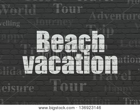 Vacation concept: Painted white text Beach Vacation on Black Brick wall background with  Tag Cloud