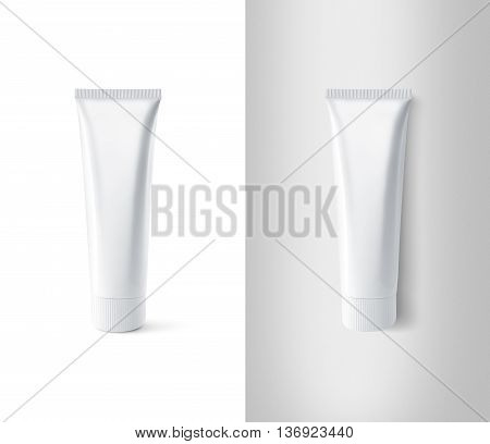 Blank white toothpaste tube design mockup set, isolated, clipping path. Clear paste packaging stand and lies mock up. Tooth powder empty package bottle template container. Dentifrice gel tube flacon.