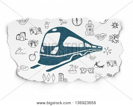 Tourism concept: Painted blue Train icon on Torn Paper background with  Hand Drawn Vacation Icons