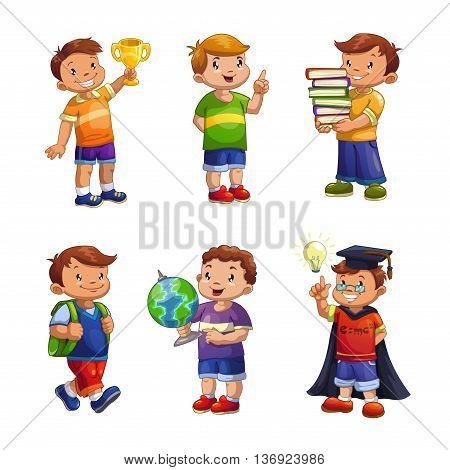 Cartoon happy children set, standing school boys vector illustration, elementary school pupils isolated on white