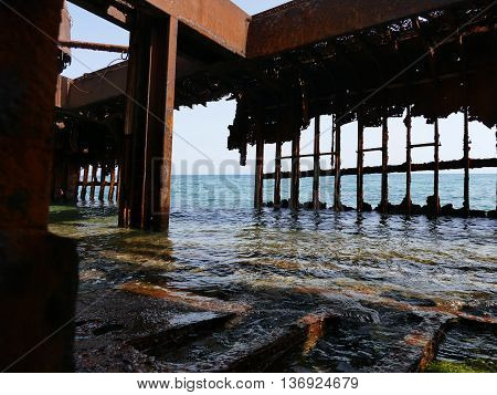 Inside Of The Dimitrios Shipwreck At Selinitsa Beach Near Gytheio, Greece