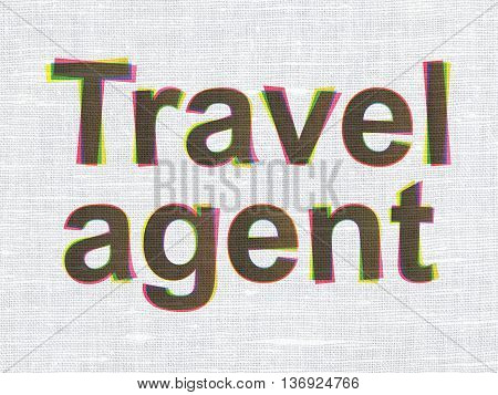 Tourism concept: CMYK Travel Agent on linen fabric texture background