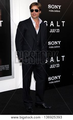 Brad Pitt at the Los Angeles premiere of 'Salt' held at the Grauman's Chinese Theater in Los Angeles, USA on July 19, 2010.